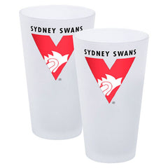 AFL SET OF 2 FROSTED CONICAL GLASSES SYDNEY SWANS