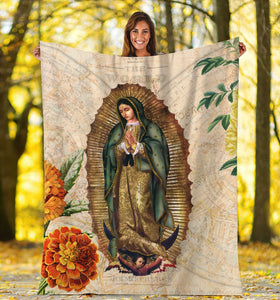 3D ALL OVER PRINTED OUR LADY OF GUADALUPE BLANKET 01