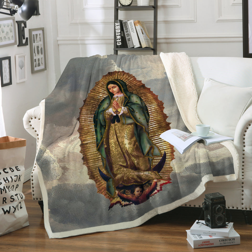 3D ALL OVER PRINTED Our Lady of Guadalupe Blanket 09