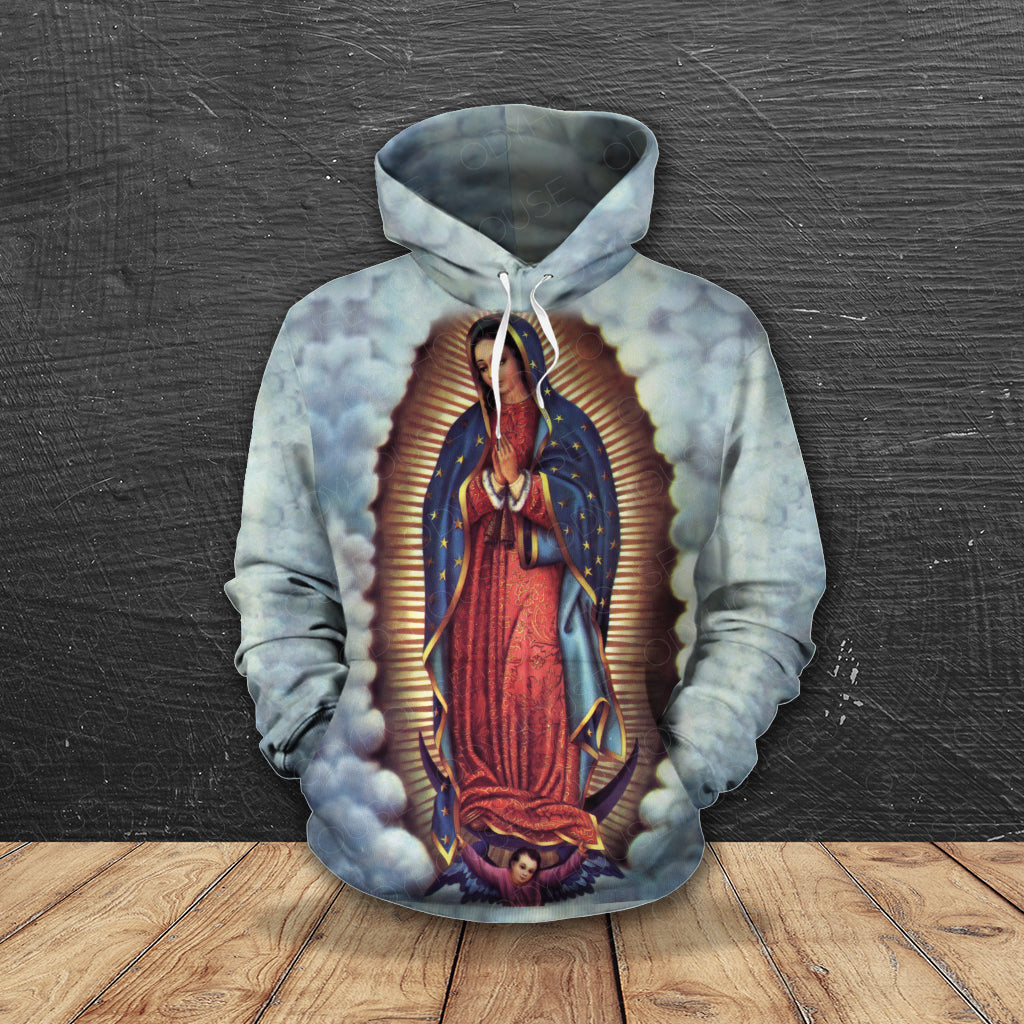 3D ALL OVER PRINTED Our Lady of Guadalupe Hoodie