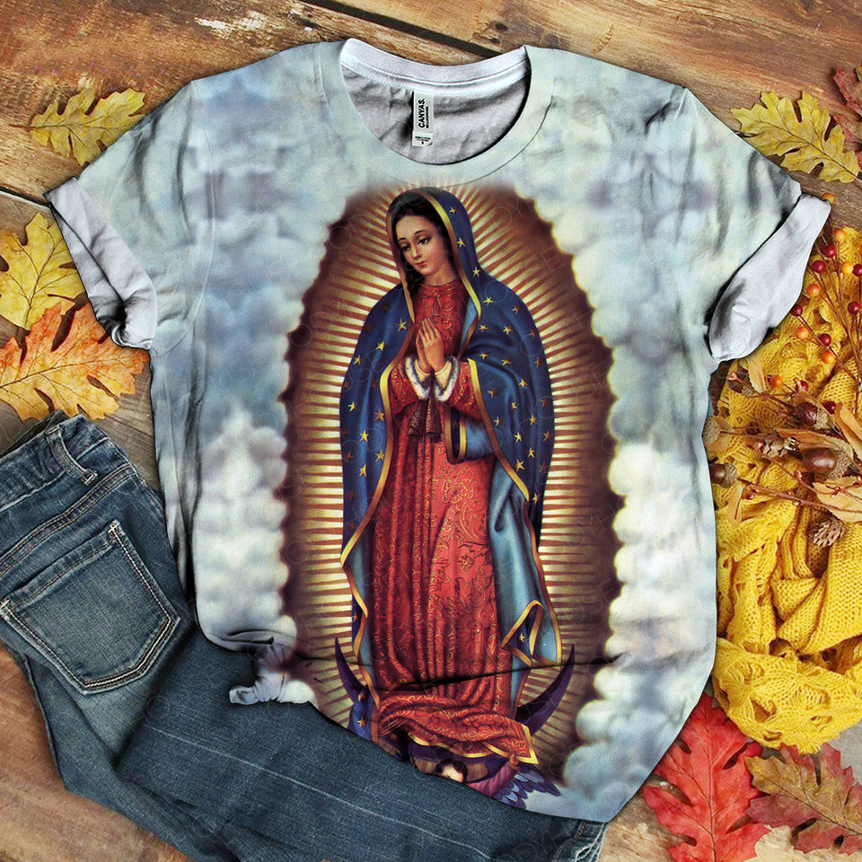 3D ALL OVER PRINTED OUR LADY OF GUADALUPE T-SHIRT