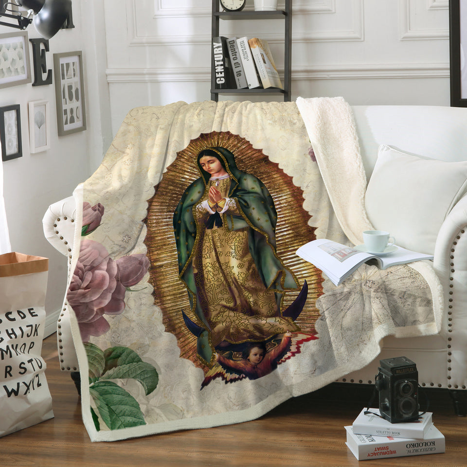 3D ALL OVER PRINTED Our Lady of Guadalupe Blanket 03