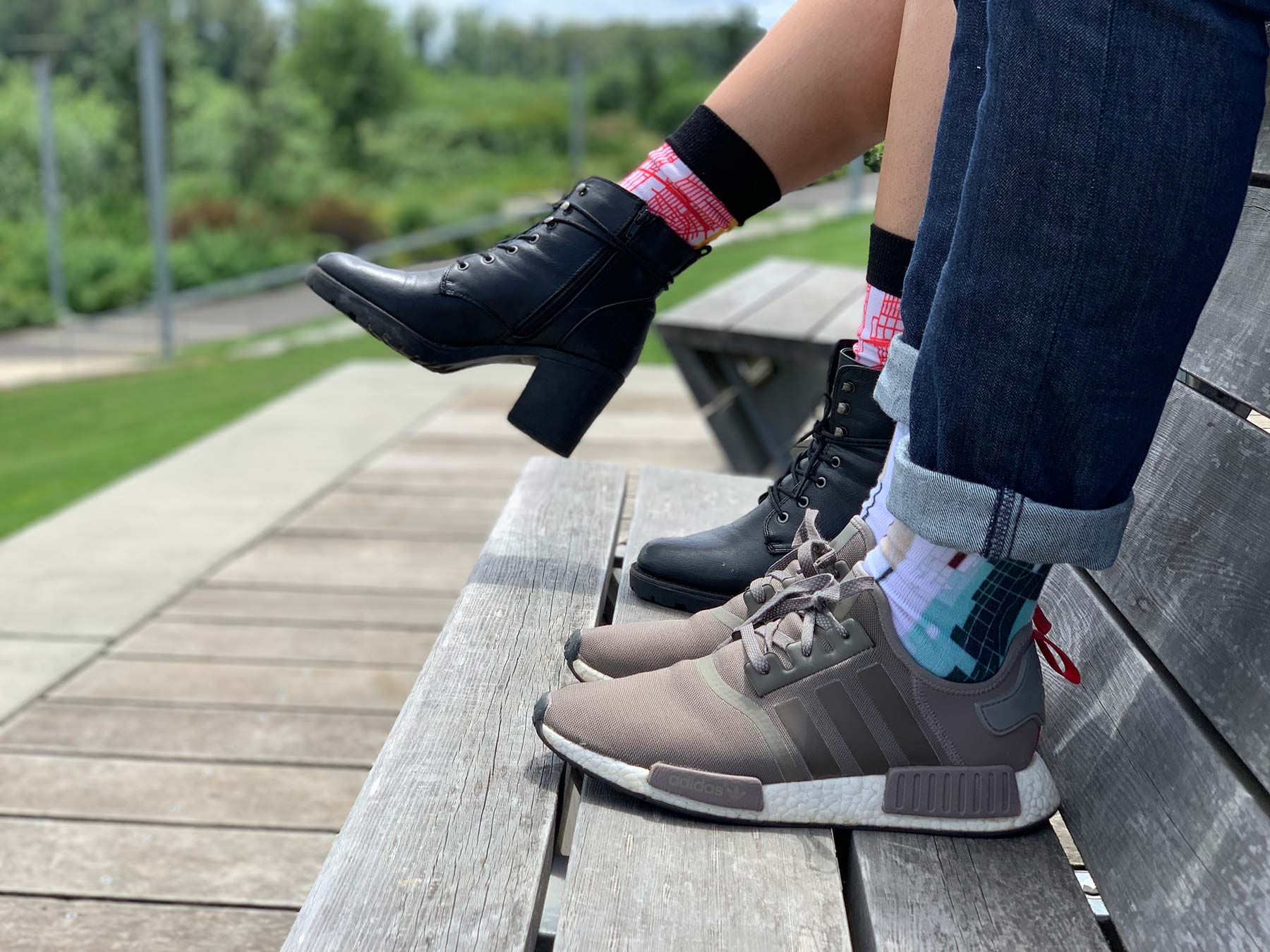 Man & Woman on Bench | Colorful Socks