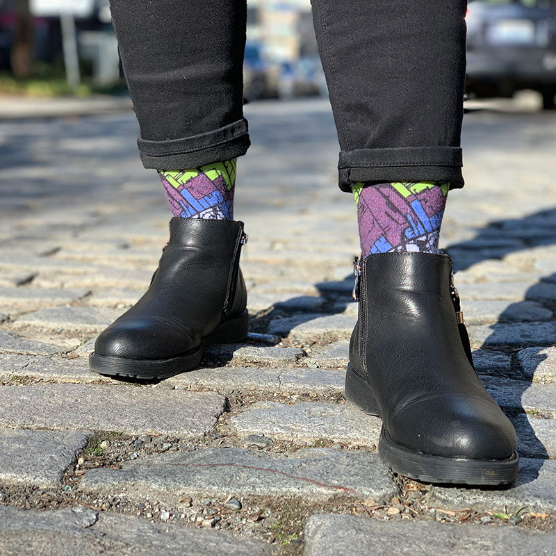 Woman Wearing Berlin Map Socks