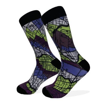 Berlin Map Socks | Colorful & Funky Socks | Purple & Green