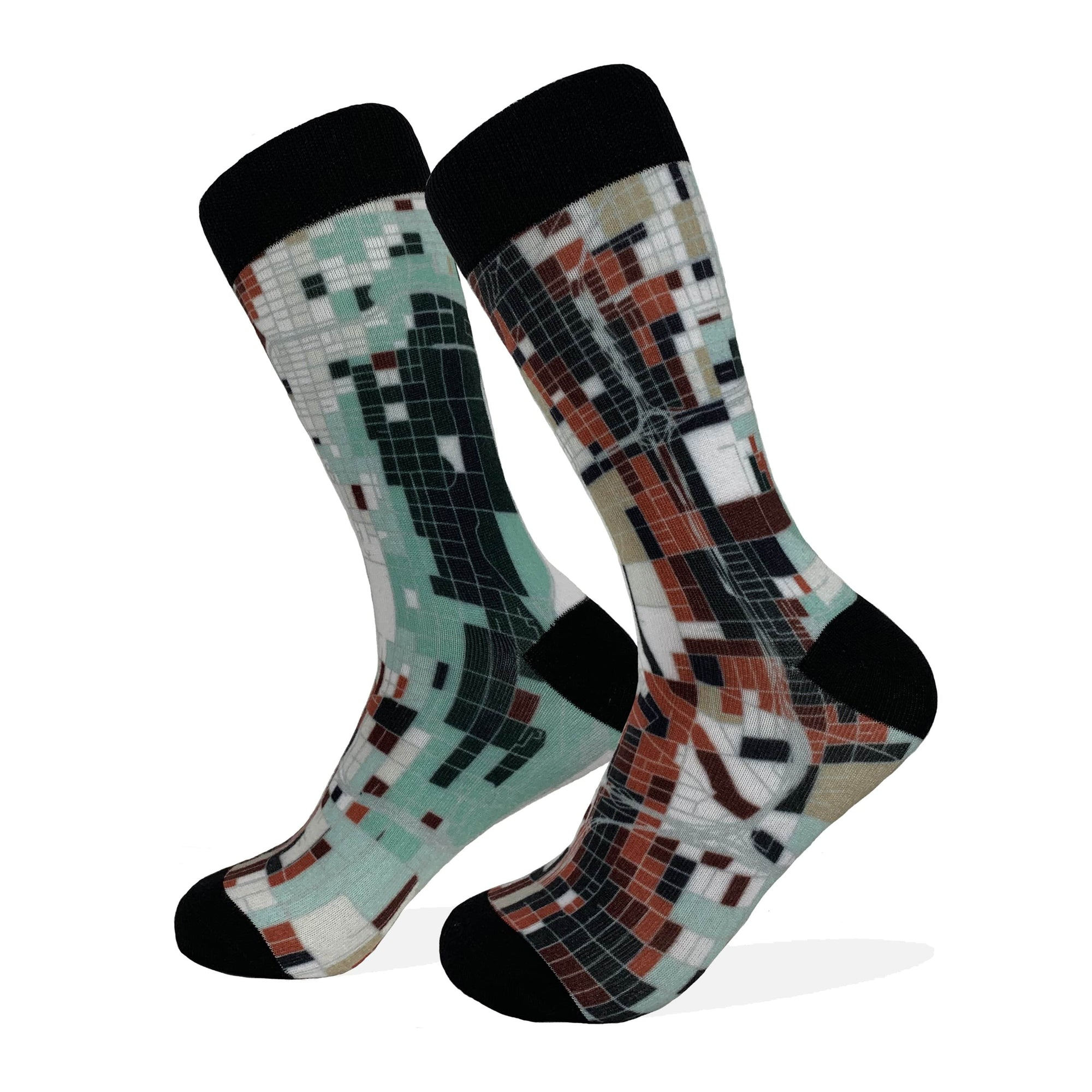 Chicago Map Socks | Colorful & Funky Socks | Mint & Brown