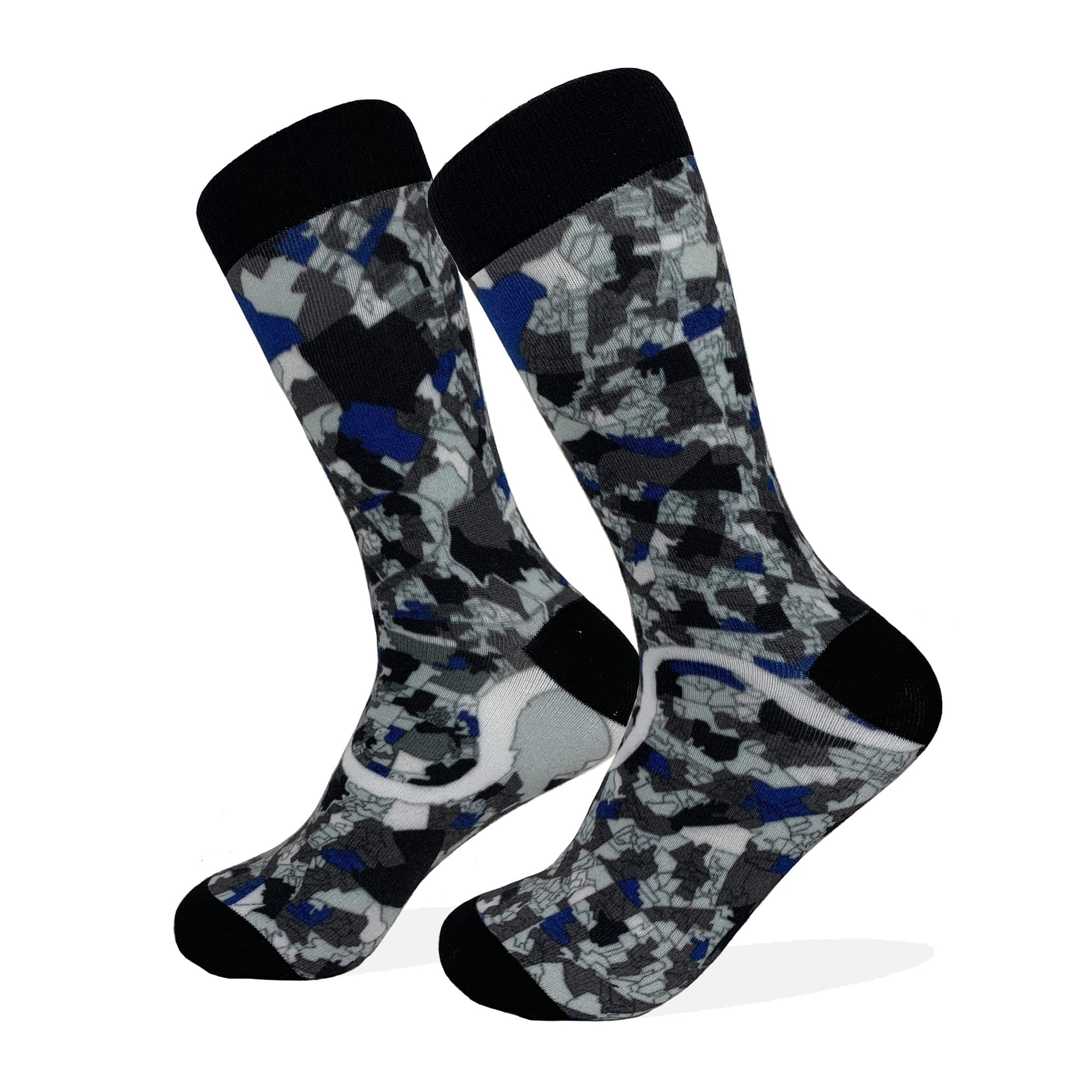 London Map Socks | Colorful & Funky Socks | Grey & Blue