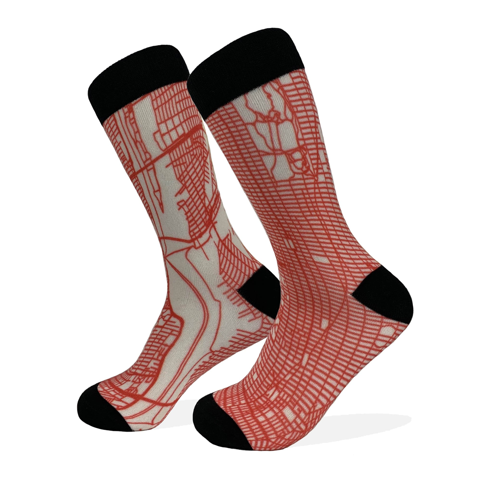 New York City Map Socks | Colorful & Funky Socks | Red & White
