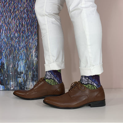 Man Wearing Berlin Map Socks
