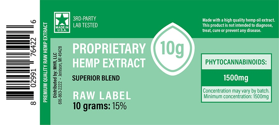 Hemp Extract – Raw CBD Oil [Green Label] (150mg, 450mg, 1500mg)
