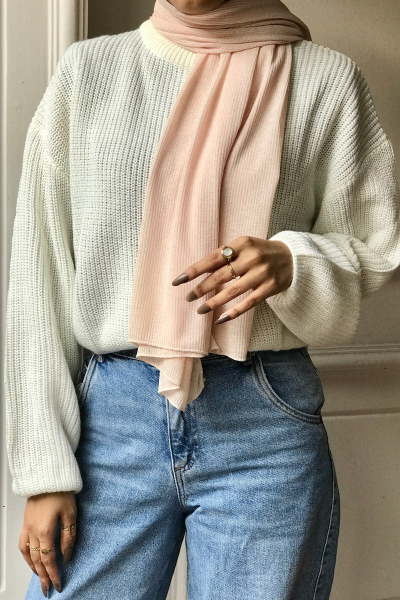 Light Peach Textured Jersey Hijab