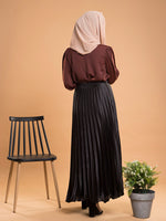 Black Pleated Satin Skirt
