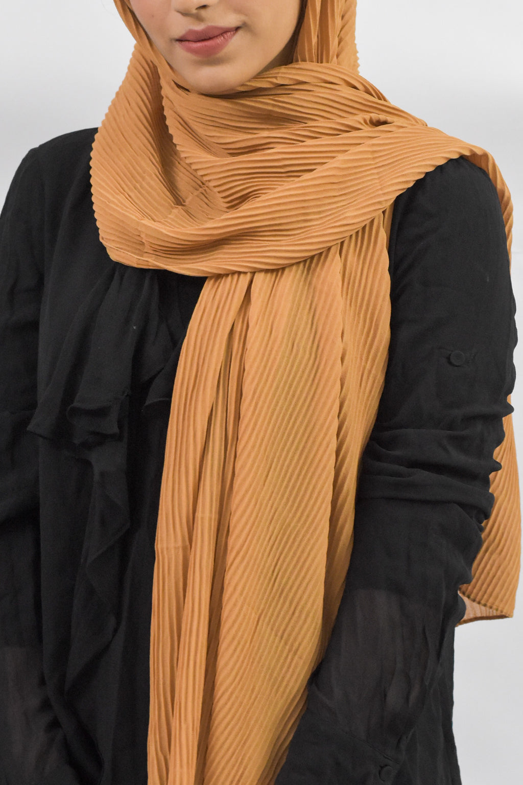 Caramel Ribbed Georgette Hijab - Modest Essentials