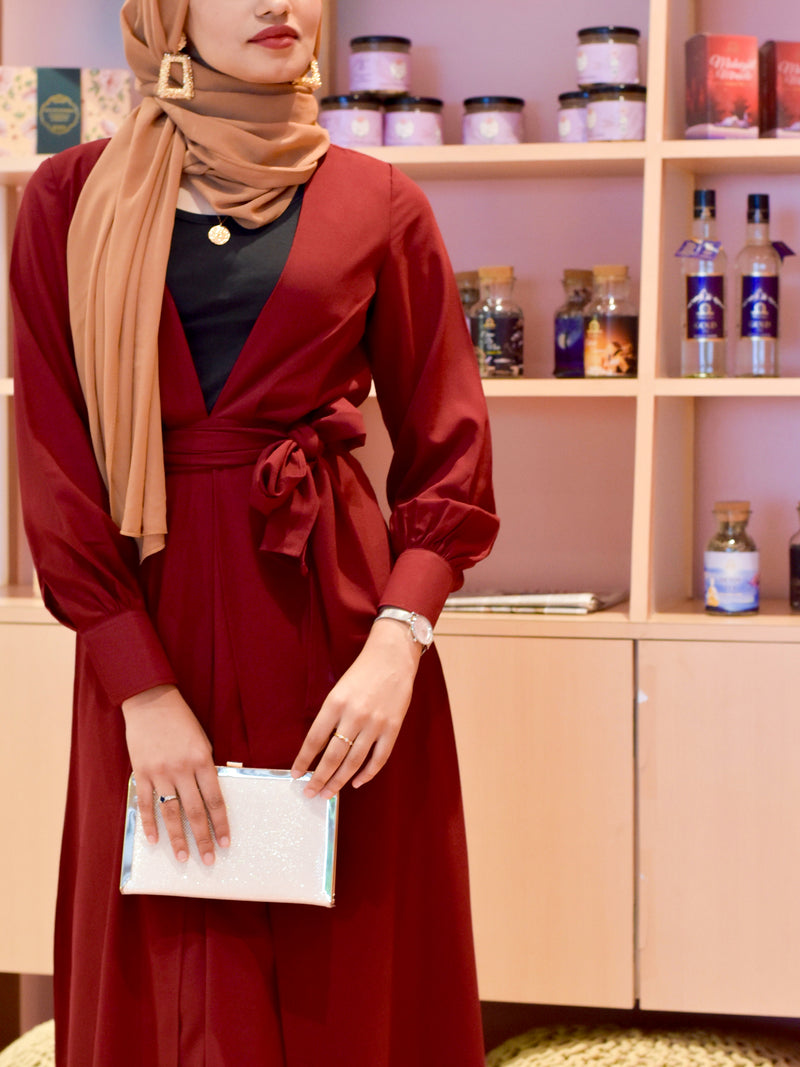 Red abaya dress with hijab and leggings