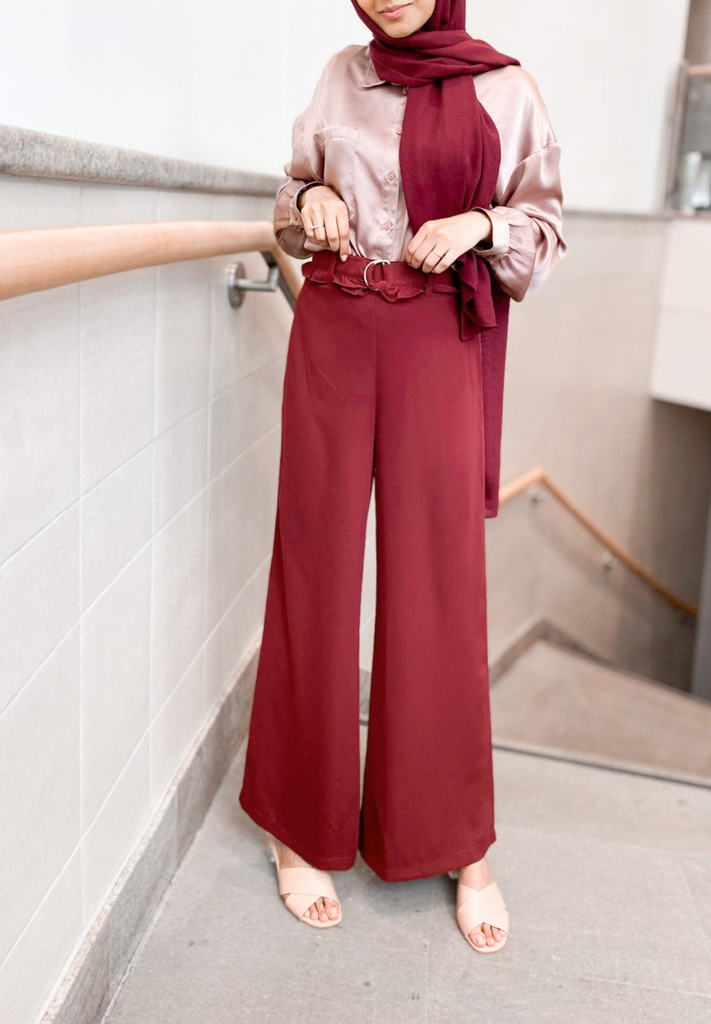 Maroon BusyBee Solid Flared Pants