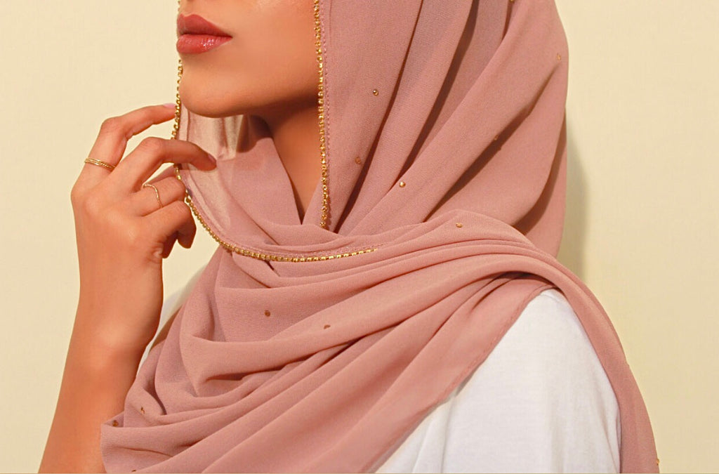 Pink Crumble Studded Georgette Hijab