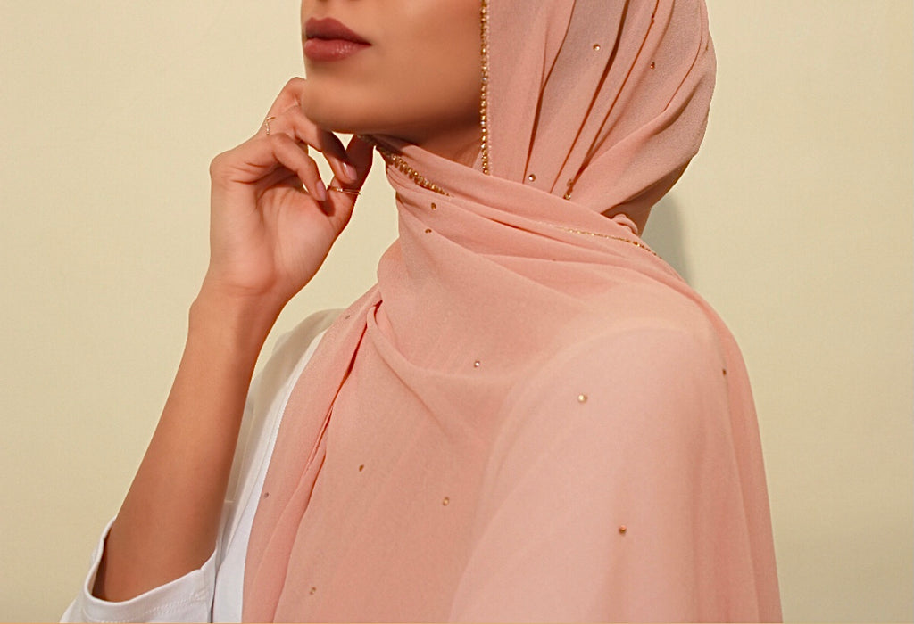 Latte Studded Georgette Hijab