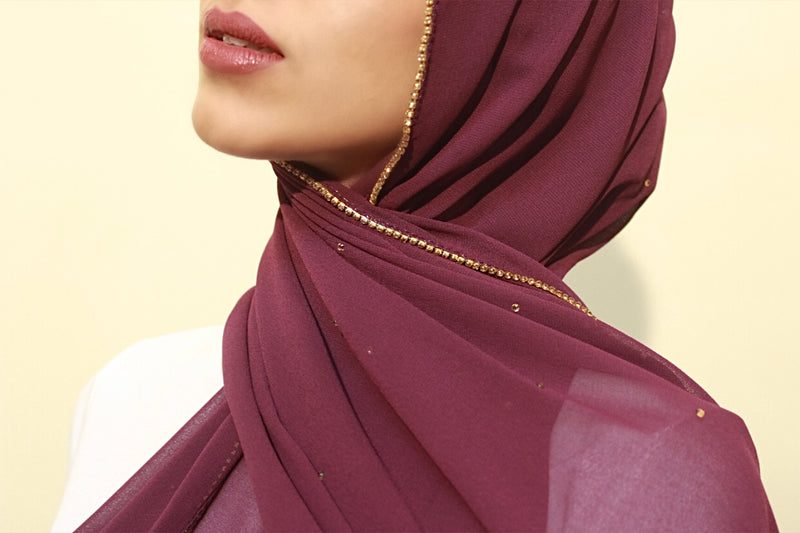 Wine Studded Georgette Hijab
