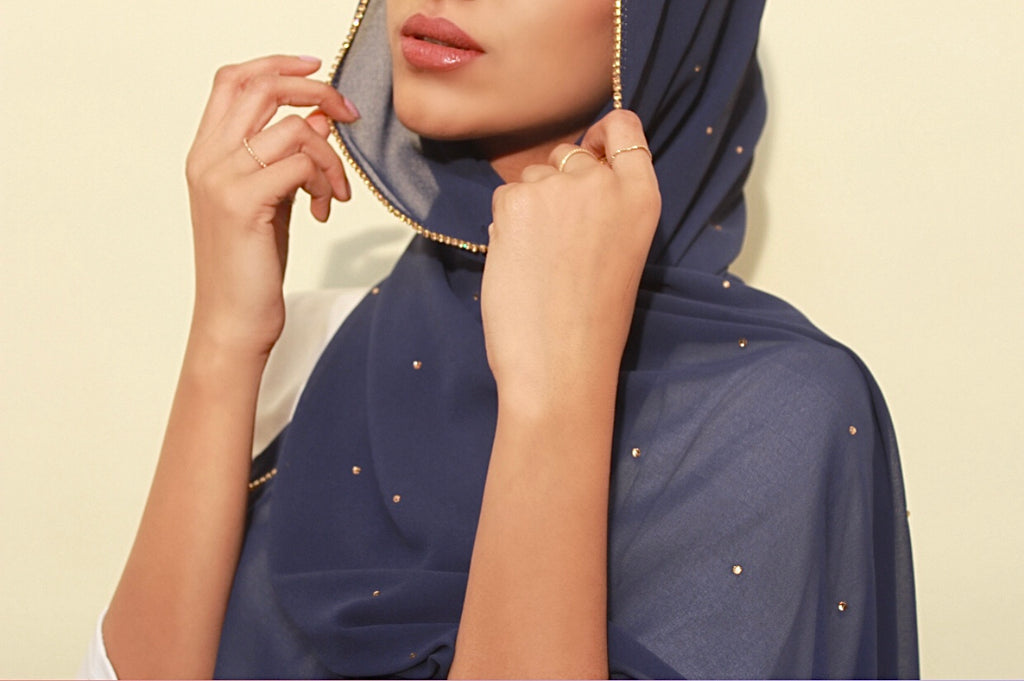 Navy Studded Georgette Hijab