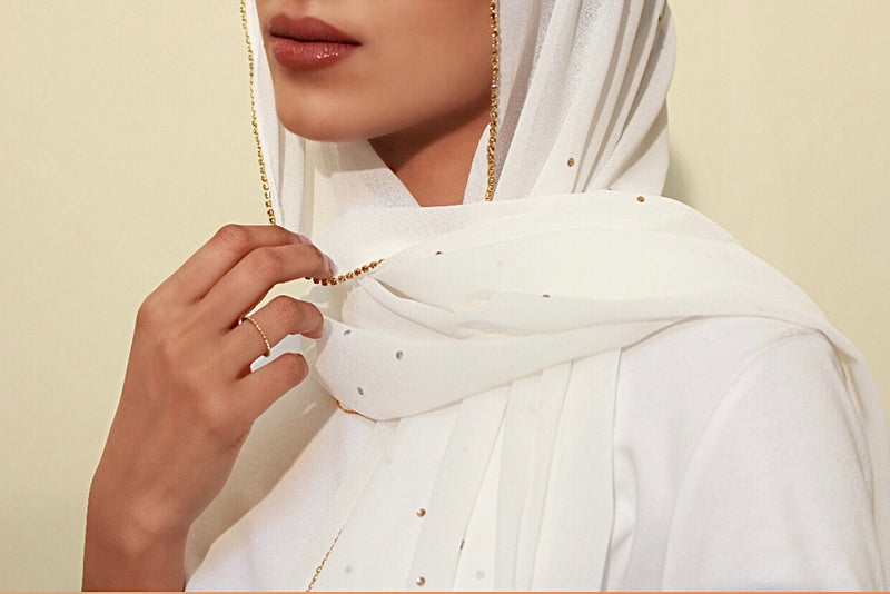 White Studded Georgette Hijab