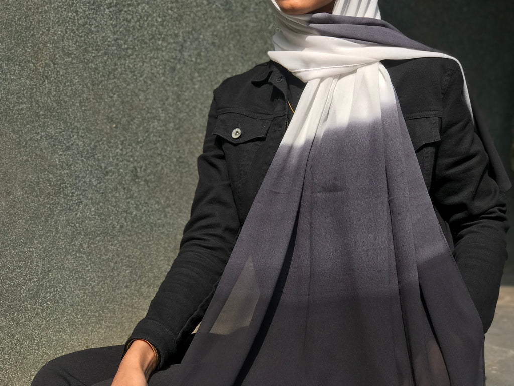 Black Diamond Shaded Georgette Hijab
