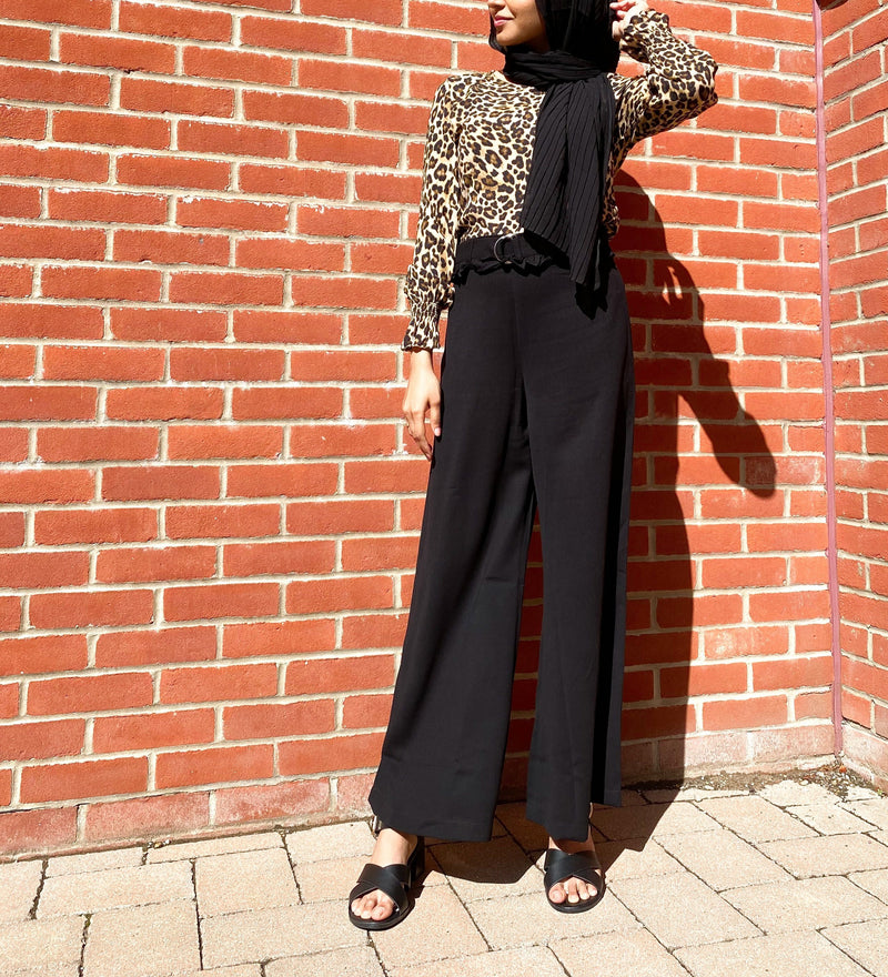 Black BusyBee Solid Flared Pants