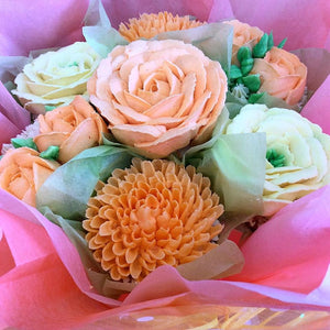 Peaches and Cream Cupcake Bouquet
