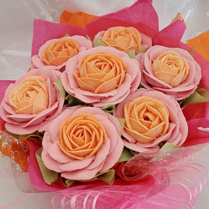 Orange and Pink Rose Cupcake Bouquet