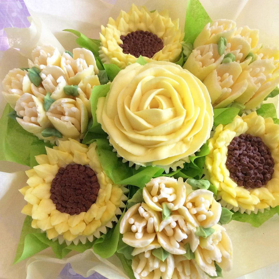 Yellow Rose Cupcake Bouquet