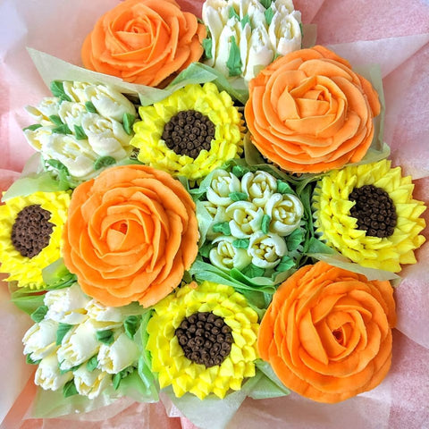 Orange Rose Cupcake Bouquet