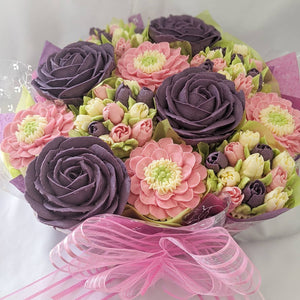 Purple Rose Cupcake Bouquet
