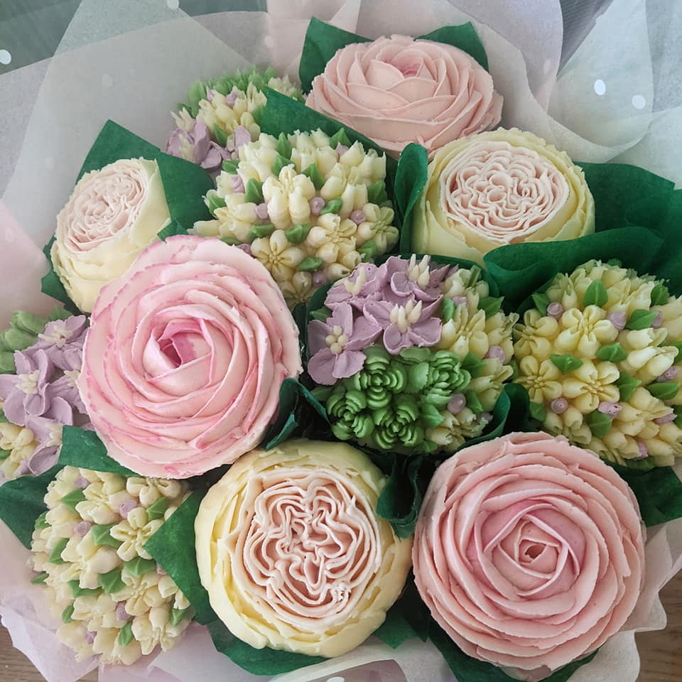Pastel Pink Roses with Mixed Cream Flowers Cupcake Bouquet