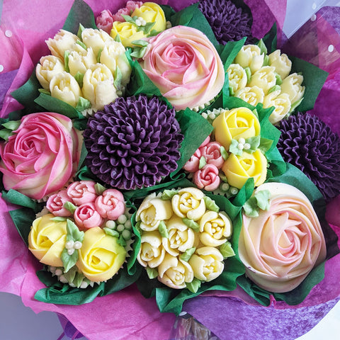 Purple Chrysanthemum mixed flower Cupcake Bouquet