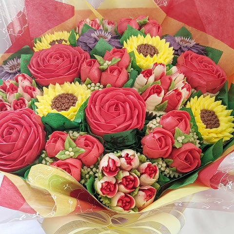 Red Roses and Sunflower Cupcake Bouquet