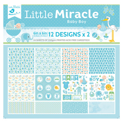 6 x 6 inch Printed Cardstock pack- Little Miracle Baby Boy, 24 Sheets, 12 Designs, 250 gsm