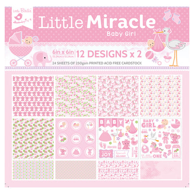 6 x 6 inch Printed Cardstock pack- Little Miracle Baby Girl, 24 Sheets, 12 Designs, 250 gsm