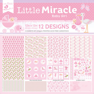 12 x12 inch Printed Cardstock pack- Little Miracle Baby Girl, 12 Sheets, 12 Designs, 250 gsm