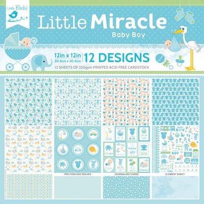 12 x12 inch Printed Cardstock pack- Little Miracle Baby Boy, 12 Sheets, 12 Designs, 250 gsm
