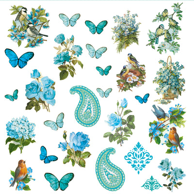 Ephemera Embellishments - Aqua Medley, 56Pc