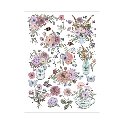 Deco Transfer Sheet - Blooms and Bugs, 10inch X 7.5inch