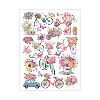 Deco Transfer Sheet - Bikes and Blooms, 10inch X 7.5inch