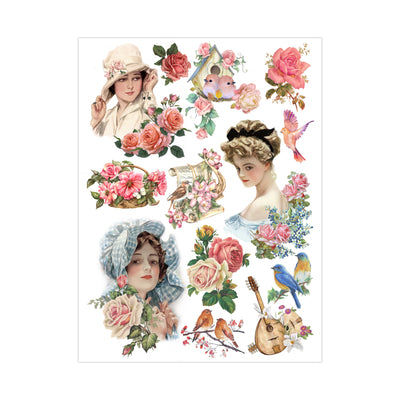 Deco Transfer Sheet - Country Maiden, 10inch X 7.5inch