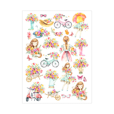 Deco Transfer Sheet - Flower Love, 10inch X 7.5inch