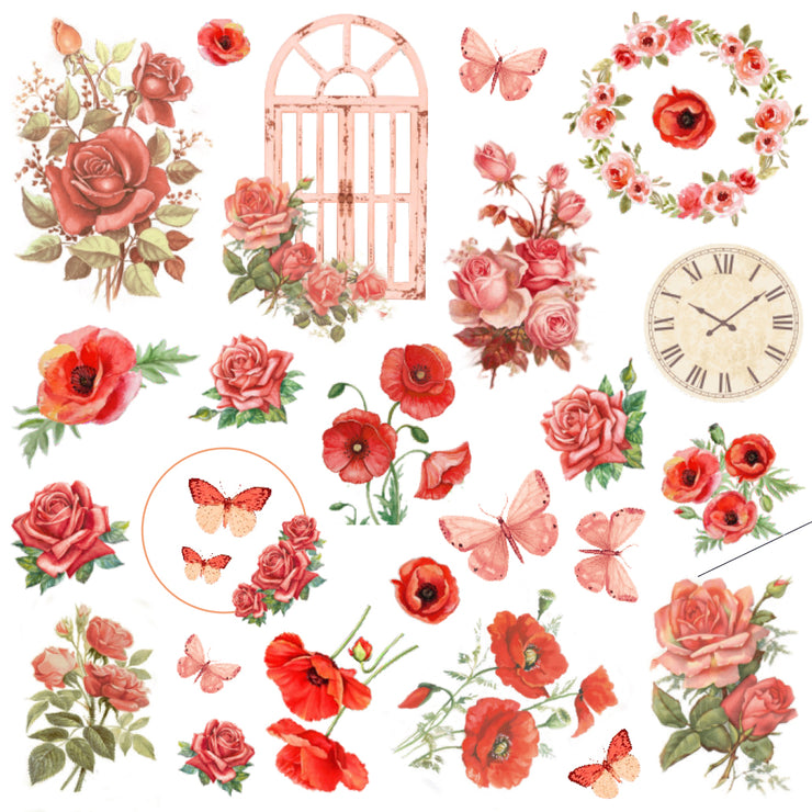 Ephemera Embellishments - Poppies & Roses, 54Pc