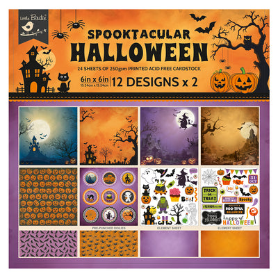 6 x 6 inch Printed Cardstock pack- Halloween, 24 Sheets, 12 Designs, 250 gsm
