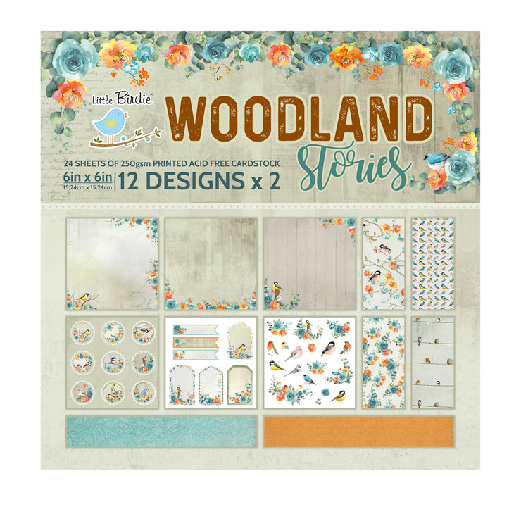 6 x 6 inch Printed Cardstock pack- Woodland Stories, 24 Sheets, 12 Designs, 250 gsm