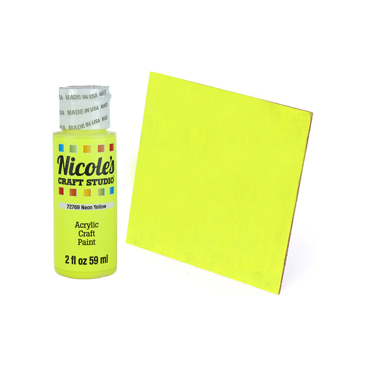Acrylic Craft Paint - Neon Yellow, 59ml, 1 bottle
