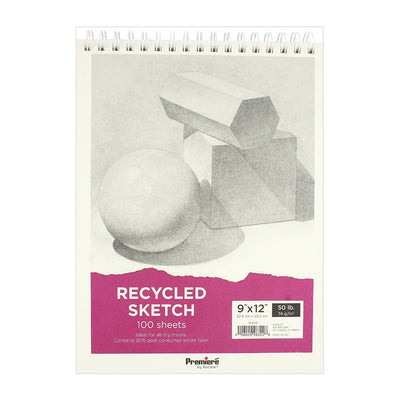Recycled Sketch Pad - 9in x 12in, 100 sheets, 74 gsm, 1pc