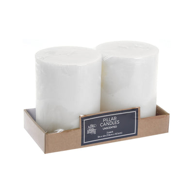 Unscented Pillar Candles - White, 3in x 4in (7.6cm x 10.1cm), 2pc