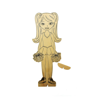 Colour Your Own Wooden Doll Kit - Cheerleader, 1 pack